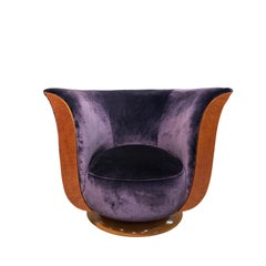 "Art Deco Purple Velvet Tulip Small Armchair Labeled ""Hotel Le Malandre"""