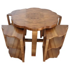 Art Deco Quartet Nest of Tables in Figured Walnut by Harry and Lou Epstein