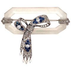 Art Deco Quartz Crystal Diamond Sapphire Platinum Brooch Pin Estate Fine Jewelry