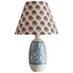 Art Deco Raoul Lachenal Ceramic Lamp Base with Customized Lampshade, 1930