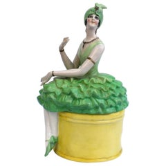 Art Deco Rare Ceramic Flapper Powder Box, c 1930