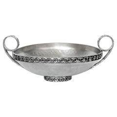 Art Deco Rare Handled Pewter Bowl, Norway, 1940s