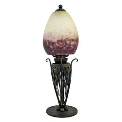 Art Deco Rare Robj Paris table Lamp with Rethondes Glass Shade, France, 1920s