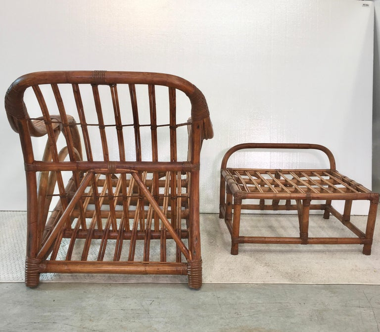 Art Deco Rattan Roadster Lounge Chair and Ottoman For Sale 5