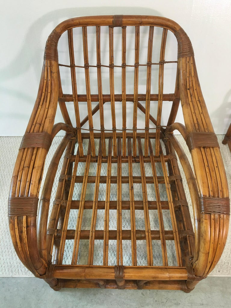 Art Deco Rattan Roadster Lounge Chair and Ottoman For Sale 7