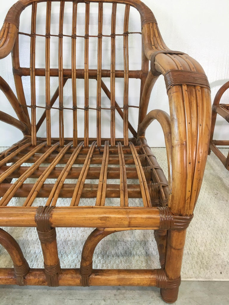 Art Deco Rattan Roadster Lounge Chair and Ottoman For Sale 12
