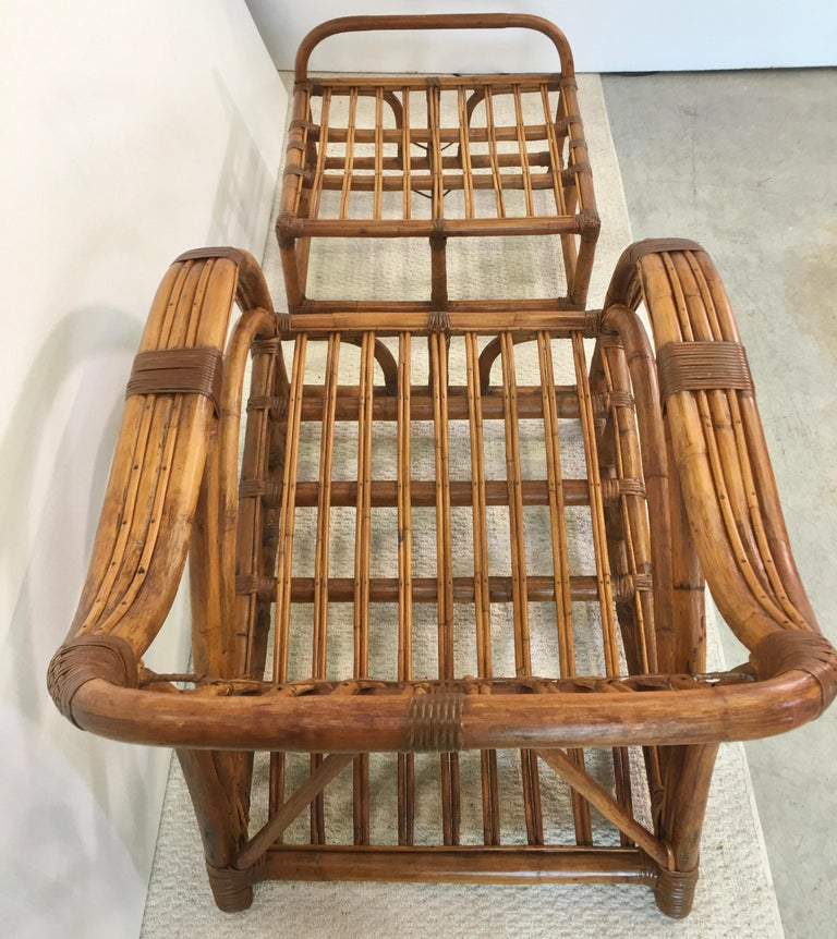 Art Deco Rattan Roadster Lounge Chair and Ottoman For Sale 15
