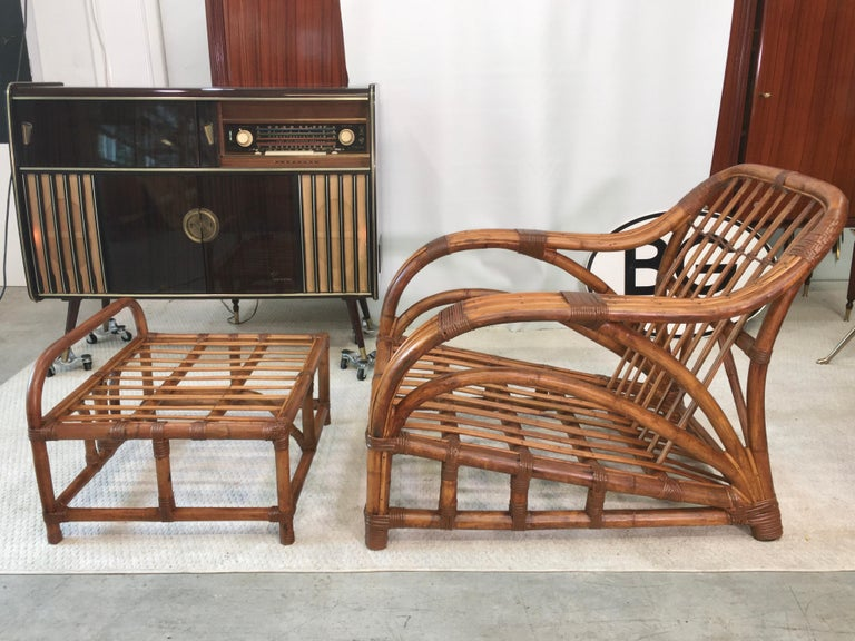 American Art Deco Rattan Roadster Lounge Chair and Ottoman For Sale