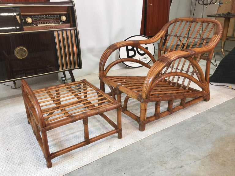 Art Deco Rattan Roadster Lounge Chair and Ottoman In Good Condition For Sale In Hingham, MA