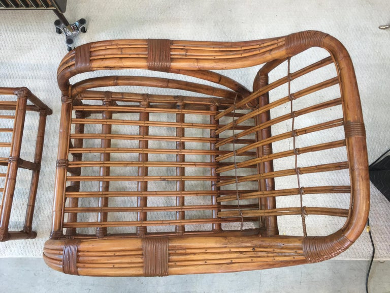Mid-20th Century Art Deco Rattan Roadster Lounge Chair and Ottoman For Sale