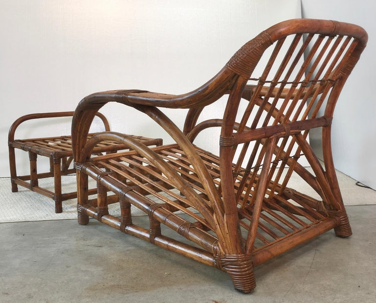 Art Deco Rattan Roadster Lounge Chair and Ottoman For Sale 2