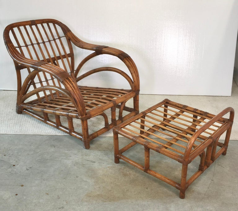 Art Deco Rattan Roadster Lounge Chair and Ottoman For Sale 4