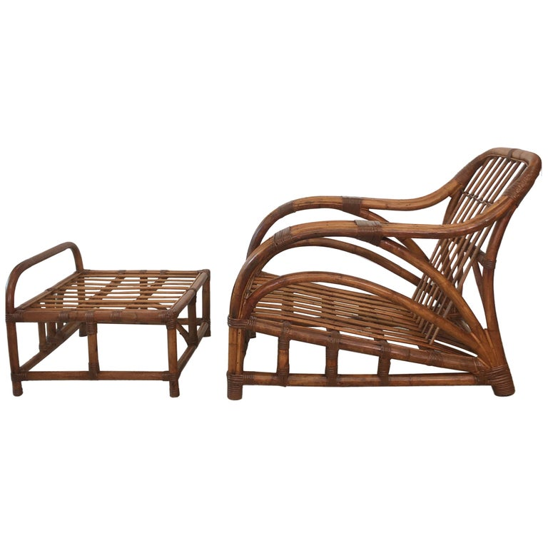 Art Deco Rattan Roadster Lounge Chair and Ottoman For Sale
