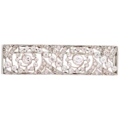 Art Deco Rectangular 2.30 Carat Diamonds White Gold Platinum Brooch