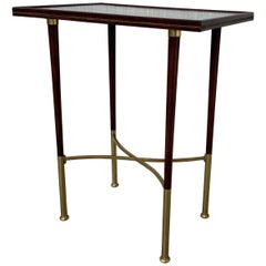 Art Deco Rectangular Mahogany Side Table Legs with Brass Feet