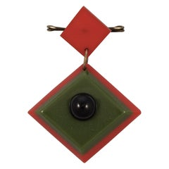 Art Deco Red and Green Early Plastic and Black Glass Geometric Brooch