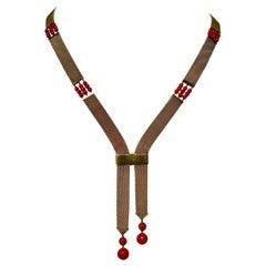 Art Deco Red Coral 14 Karat Gold Negligee Mesh Necklace Antique