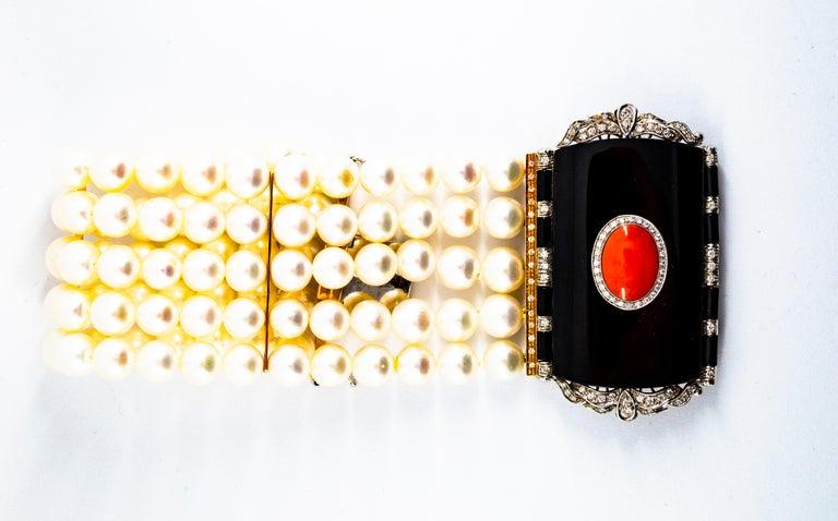 Cabochon Art Deco Style Coral 1.60 Carat White Diamond Onyx Pearl Yellow Gold Bracelet For Sale