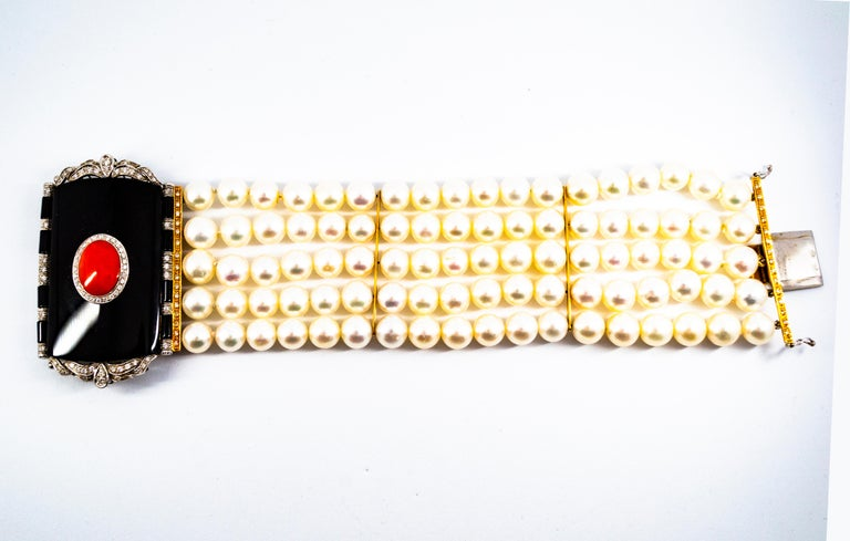 Art Deco Style Coral 1.60 Carat White Diamond Onyx Pearl Yellow Gold Bracelet In New Condition For Sale In Naples, IT