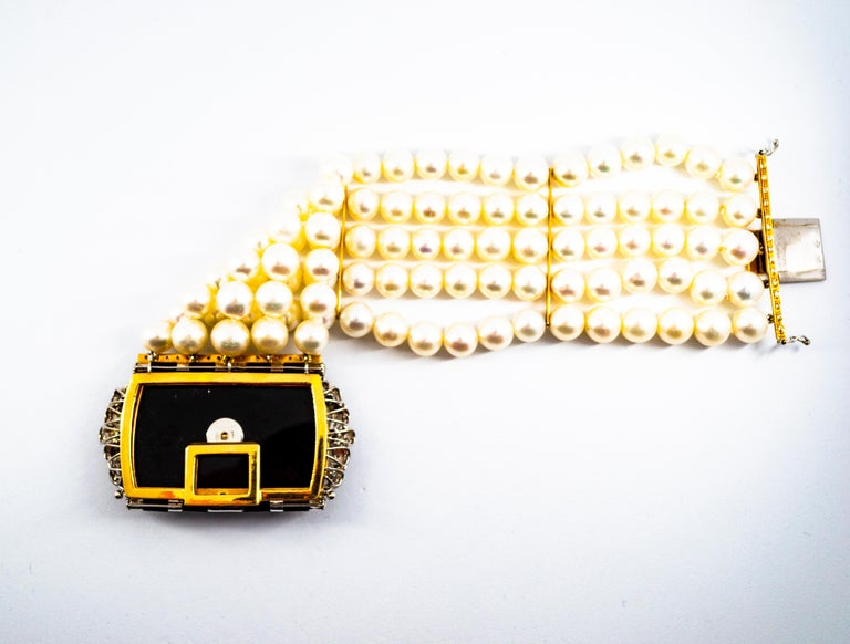 Women's or Men's Art Deco Style Coral 1.60 Carat White Diamond Onyx Pearl Yellow Gold Bracelet For Sale