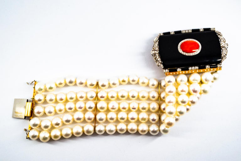Art Deco Style Coral 1.60 Carat White Diamond Onyx Pearl Yellow Gold Bracelet For Sale 1
