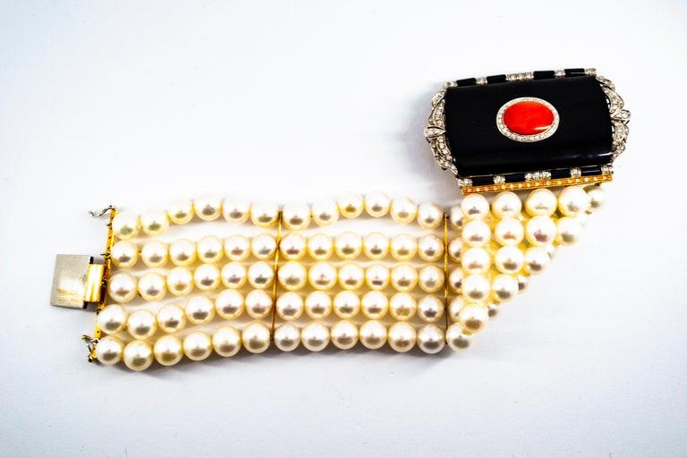 Art Deco Style Coral 1.60 Carat White Diamond Onyx Pearl Yellow Gold Bracelet For Sale 2