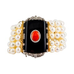 Art Deco Red Coral 1.60 Carat White Diamond Onyx Pearl Yellow Gold Bracelet