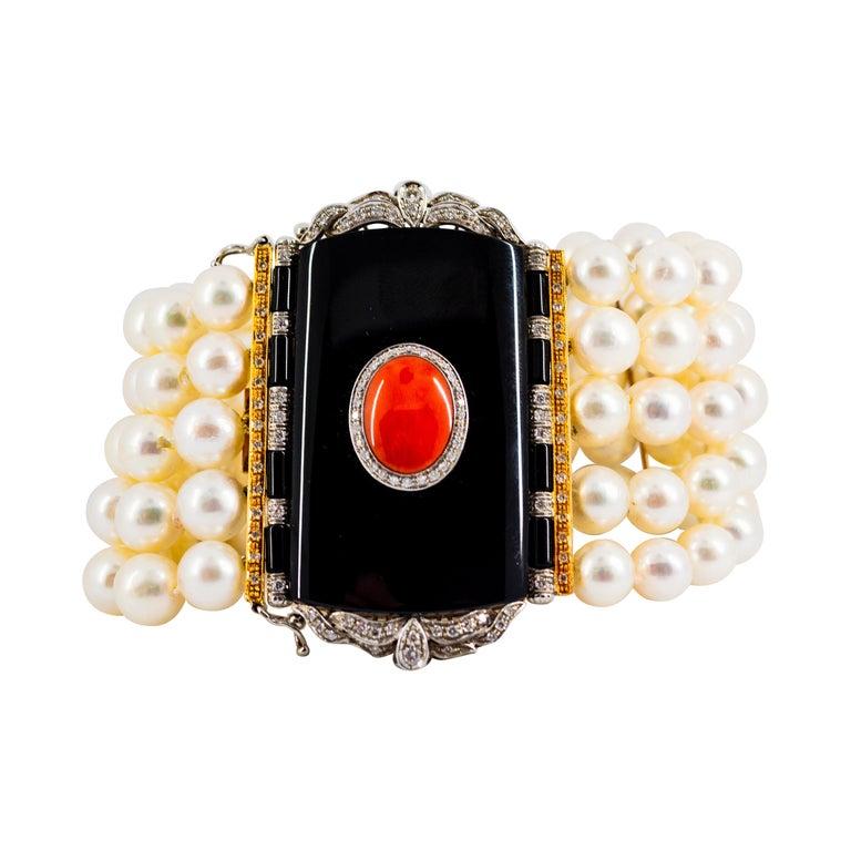 Art Deco Style Coral 1.60 Carat White Diamond Onyx Pearl Yellow Gold Bracelet For Sale