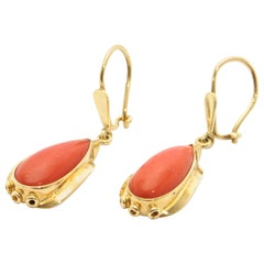 Art Deco Red Coral Cabochon 14 Karat Yellow Gold Dangle Earrings