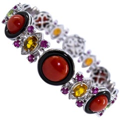 Art Deco Style Red Coral Ruby Sapphire White Diamond Onyx White Gold Bracelet