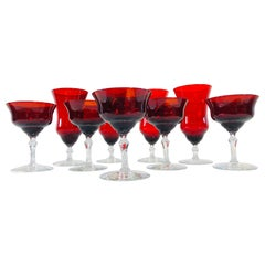 Art Deco Red Glass Stems, Set of 9