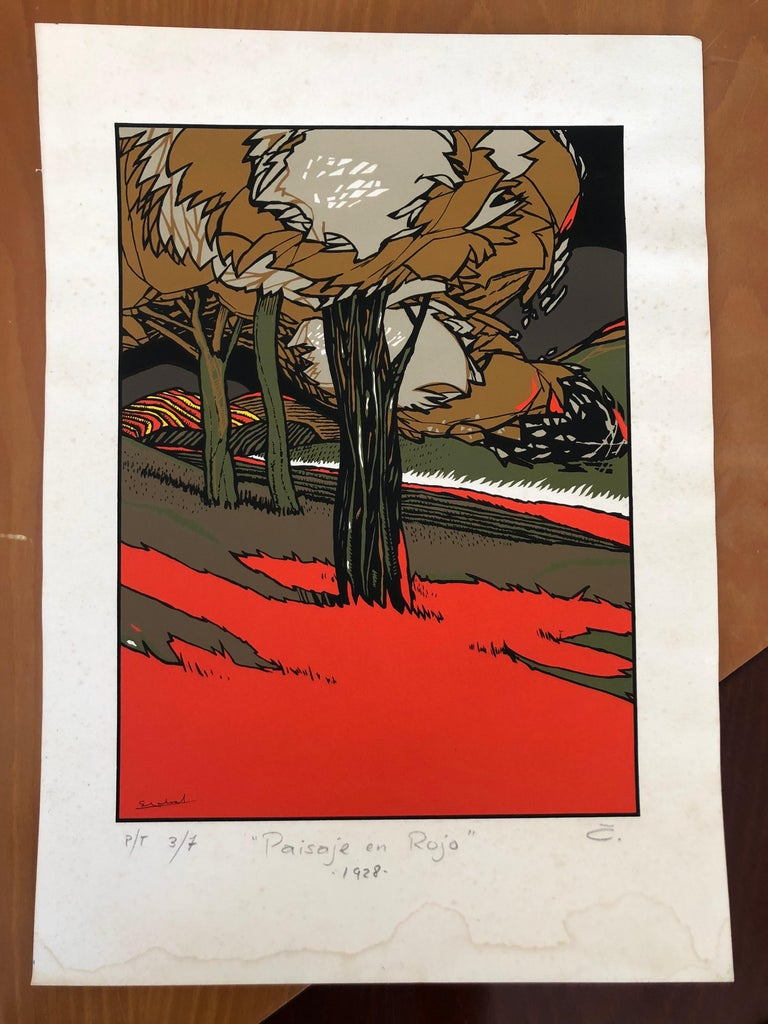 Art Deco Red Landscape by Mexican Artist Ernesto Garcia Cabral Signed and Dated For Sale 1