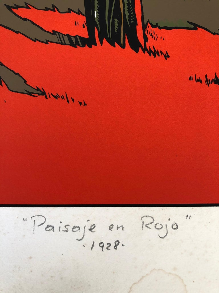 Art Deco Red Landscape by Mexican Artist Ernesto Garcia Cabral Signed and Dated For Sale 2
