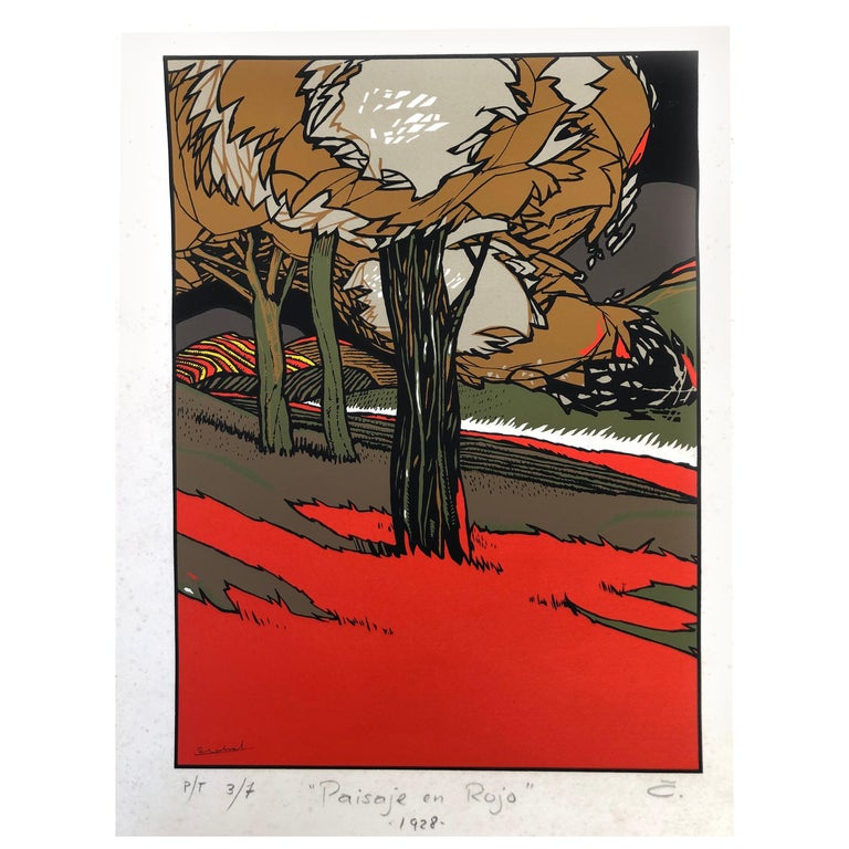 Art Deco Red Landscape by Mexican Artist Ernesto Garcia Cabral Signed and Dated For Sale