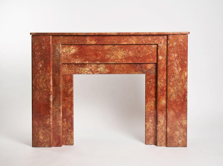 French Art Deco, Red Marble Fireplace Mantel, France, circa 1930 For Sale