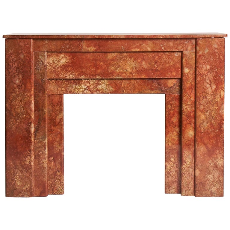 Art Deco, Red Marble Fireplace Mantel, France, circa 1930 For Sale