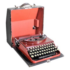 Art Deco Red Remington Rand No. 3 Streamlined Portable Typewriter with Hard Case