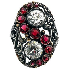 Art Deco Red Spinel Old European Cut Diamond Silver and Gold Ring Signed CINI