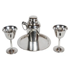 Art Deco Reed & Barton Sterling x110 Cocktail Shaker Set with Tray & Two Goblets