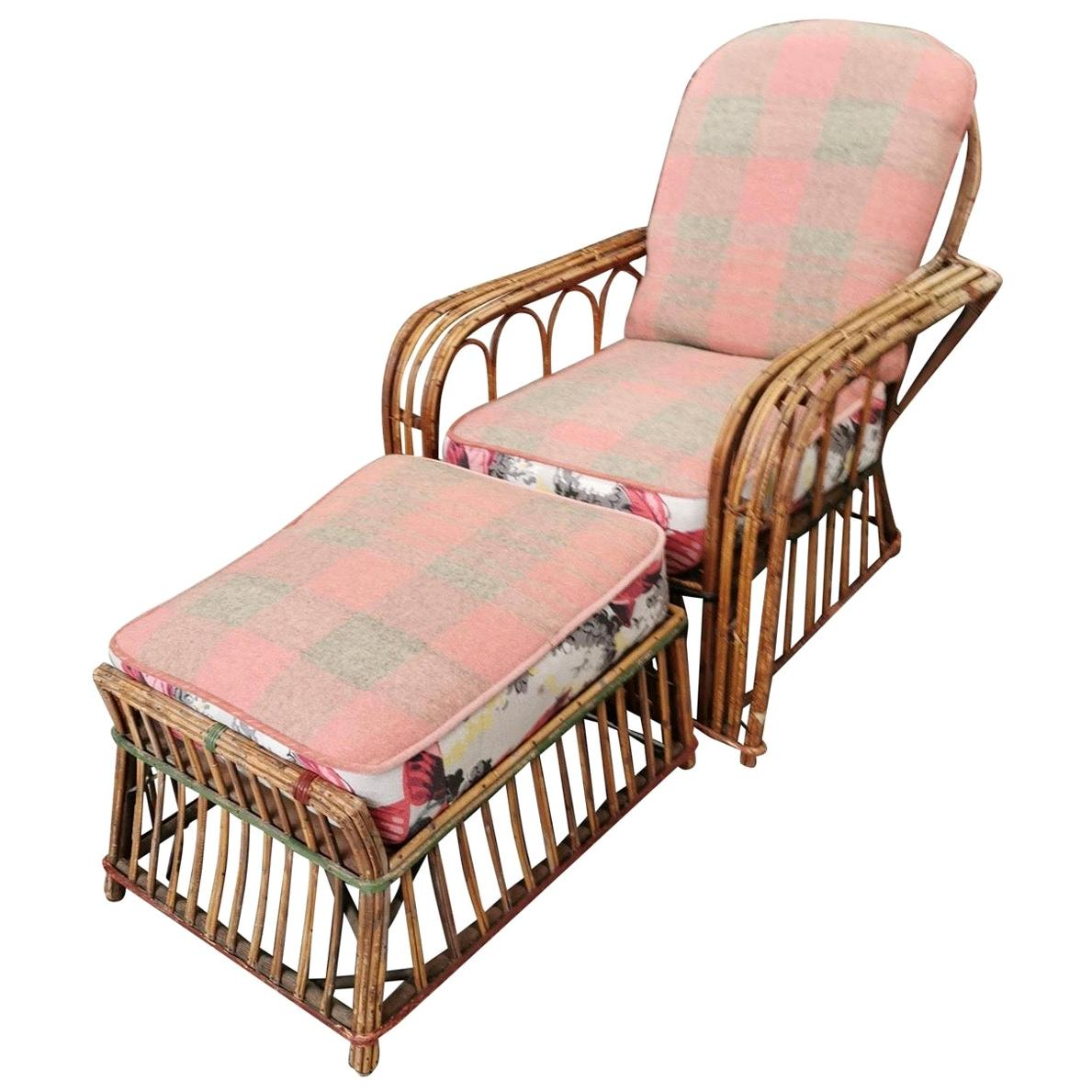 Art Deco Reeded Rattan Lounge Chair and Ottoman