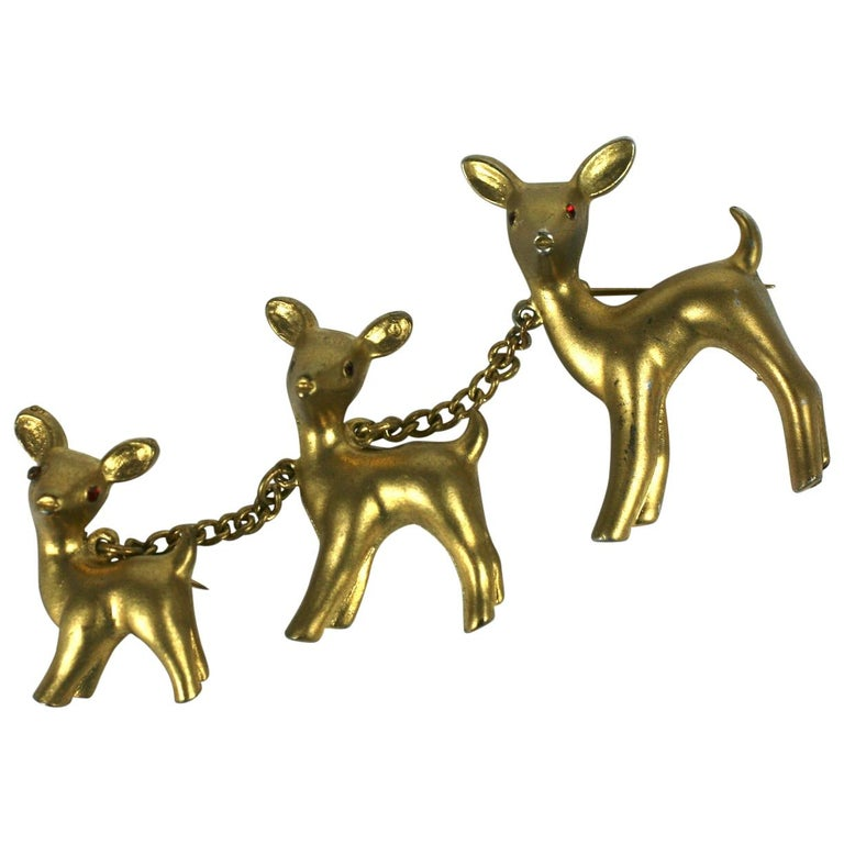 """Art Deco Reinad USA """"Chanel"""" Deer Family Brooch For Sale"""