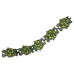 Art Deco Reja Flower Head Link Bracelet