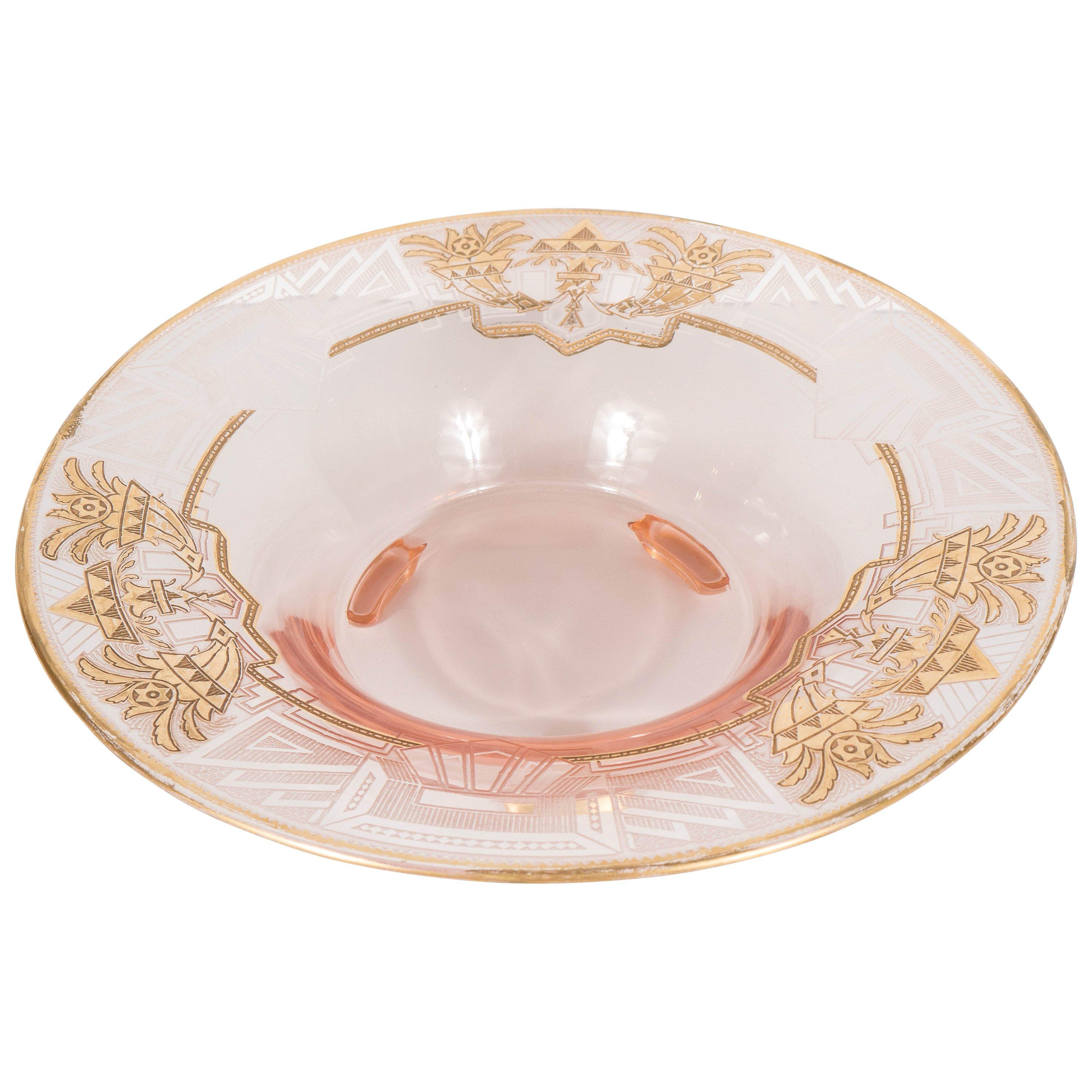 Art Deco Relief Etched and 24-Karat Gilt Relief Bowl