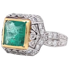 Art Deco Renaissance Inspired Emerald Diamond Platinum Ring