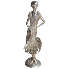 Art Deco Resin Sculpture with Italy 1970 Silver Foil Woman with Fan