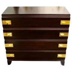 Art Deco Restored Widdicomb 1938 Ebonized Mahogany Chest Dresser 4-Drawer Brass
