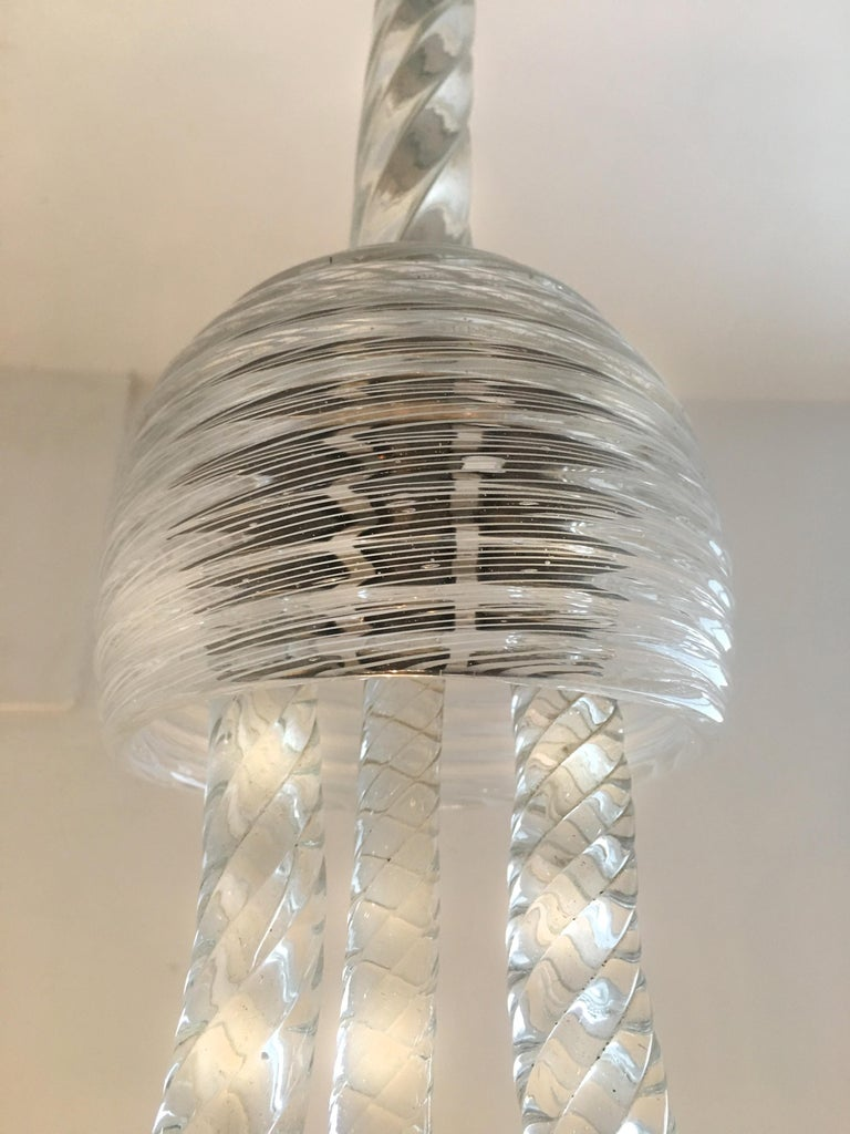 Art Deco Reticello Chandelier by Ercole Barovier, Murano, 1940s For Sale 1