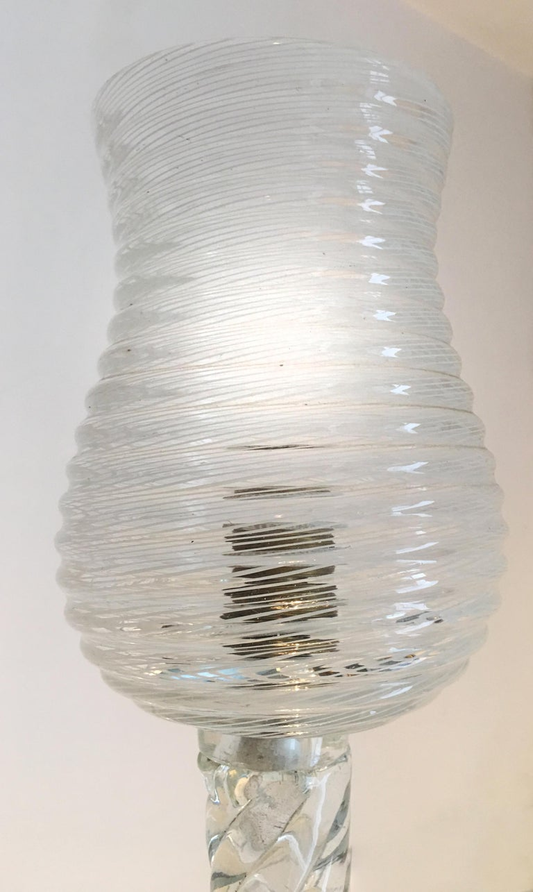Art Deco Reticello Chandelier by Ercole Barovier, Murano, 1940s For Sale 3