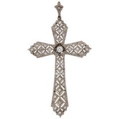 Art Deco Reticulated Diamond Platinum Cross with Diamond Bail