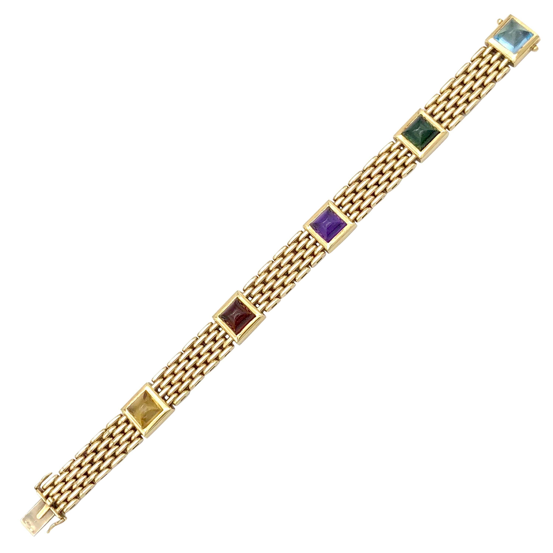 Art Deco  Sugarloaf Amethyst Aquamarine Tourmaline Citrine Gold Gate Bracelet